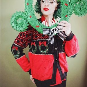 Red Knit Ugly Christmas Sweater Cardigan